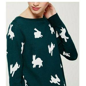 LOFT Bunny Teal Wool Blend Sweater XS